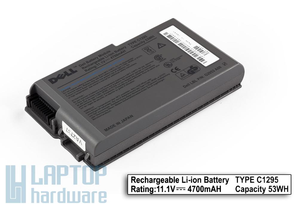 Dell Latitude D500, D505, D600, D610 gyári új 6 cellás laptop akku/akkumulátor , Japán cellákkal, C1295