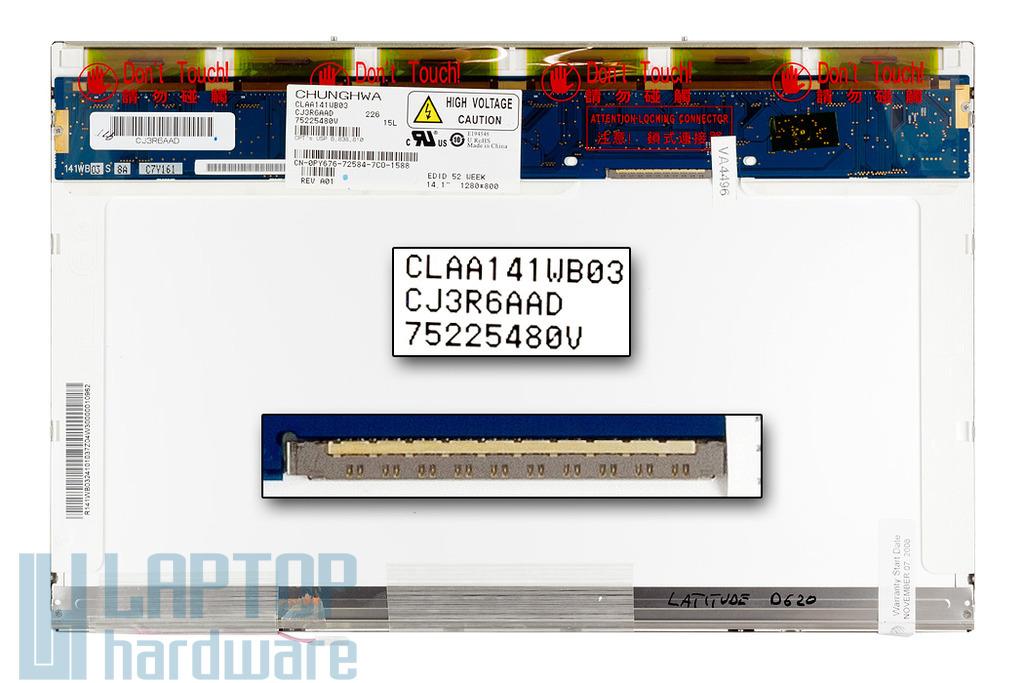 Dell Latitude D620, D630 WXGA 1280x800 használt matt laptop kijelző (CLAA141WB03)