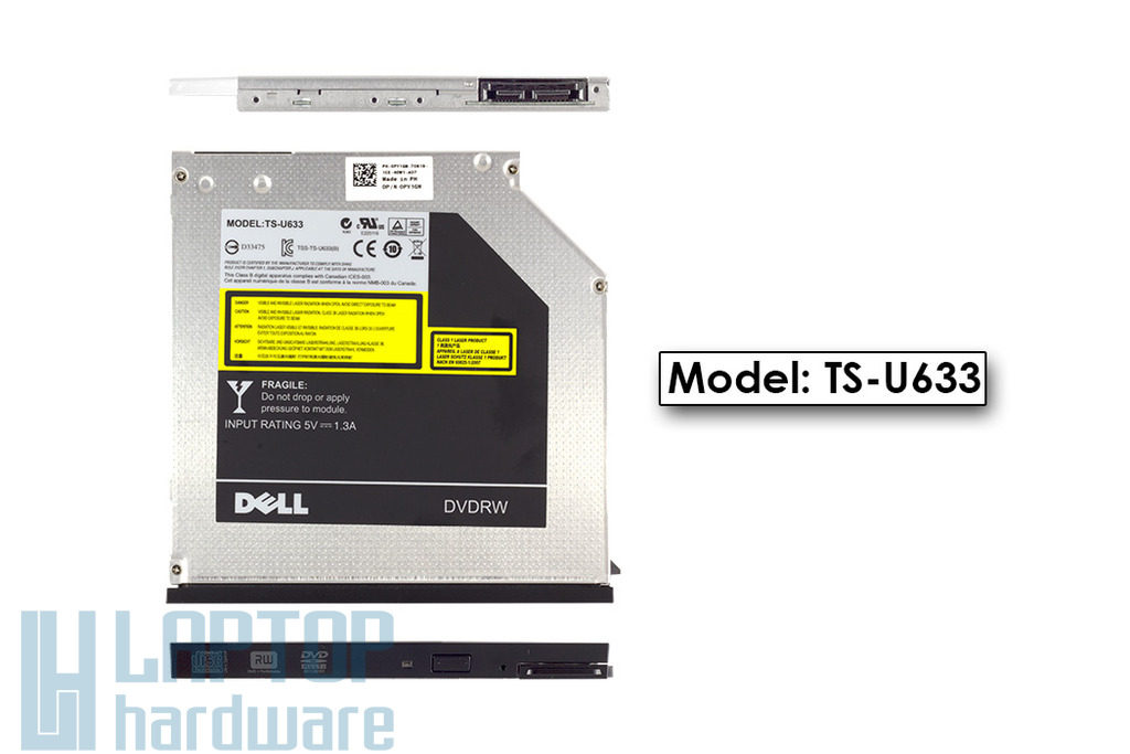 Dell Latitude E4300, E6400, E6410 gyári új ultra slim 9.5mm SATA laptop DVD-író, TS-U633, PY1GW