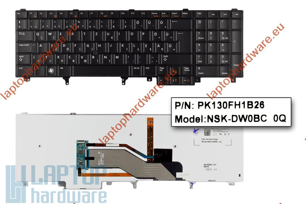 Dell Latitude E5520, E5530, E6520 használt magyar LED háttér-világításos laptop billentyűzet (Win7, 54R9H)