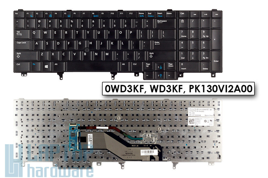 Dell Latitude E6540, Precision M4800, M6800 használt US angol (Win8) laptop billentyűzet (0WD3KF)