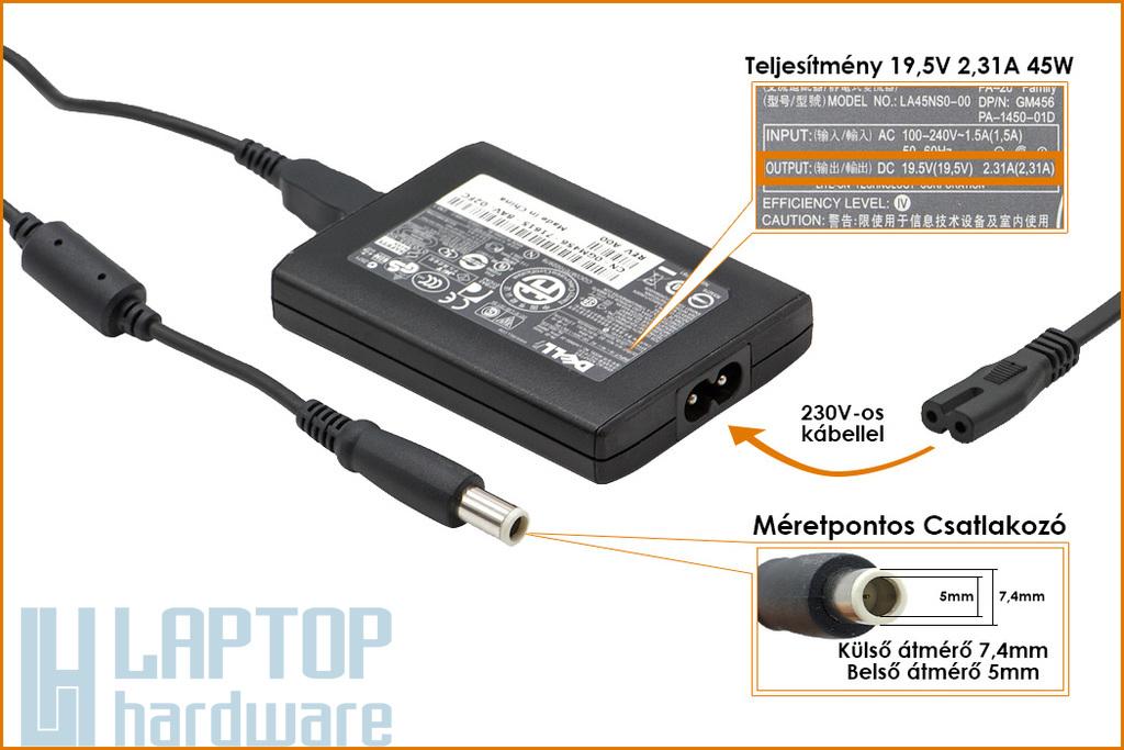Dell Latitude XT PA-20 19.5V 2.31A 45W gyári új laptop töltő (PA-20, GM456, PA-1450-01D)