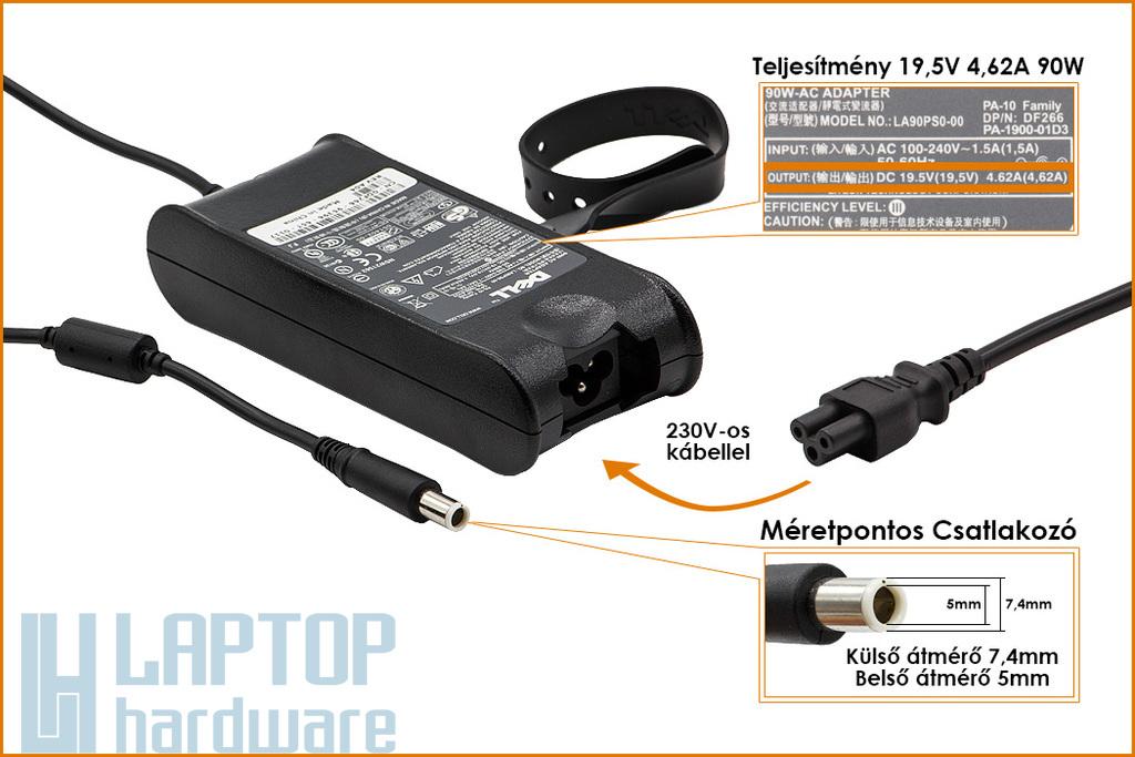 Dell PA-10 19.5V 4.62A 90W gyári új laptop töltő (9T215, PA-1900-02D2)