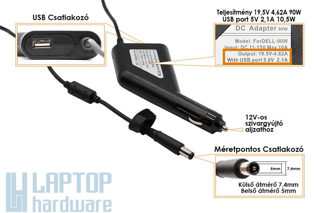 Dell PA-10 19.5V 4.62A 90W helyettesítő új autós laptop töltő (9T215, PA-1900-02D2)