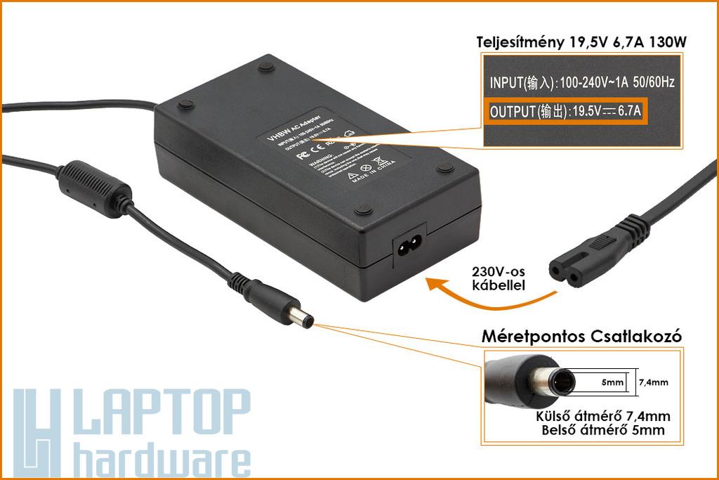 Dell PA-13 19.5V 6.7A 130W helyettesítő új laptop töltő (N3813, PA-13)