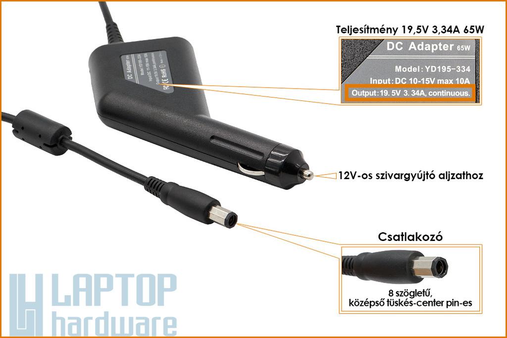Dell PA-21 19.5V 3.34A 65W nyolcszögletű (octagonal) fejű helyettesítő új autós laptop töltő (NX061,HR763)