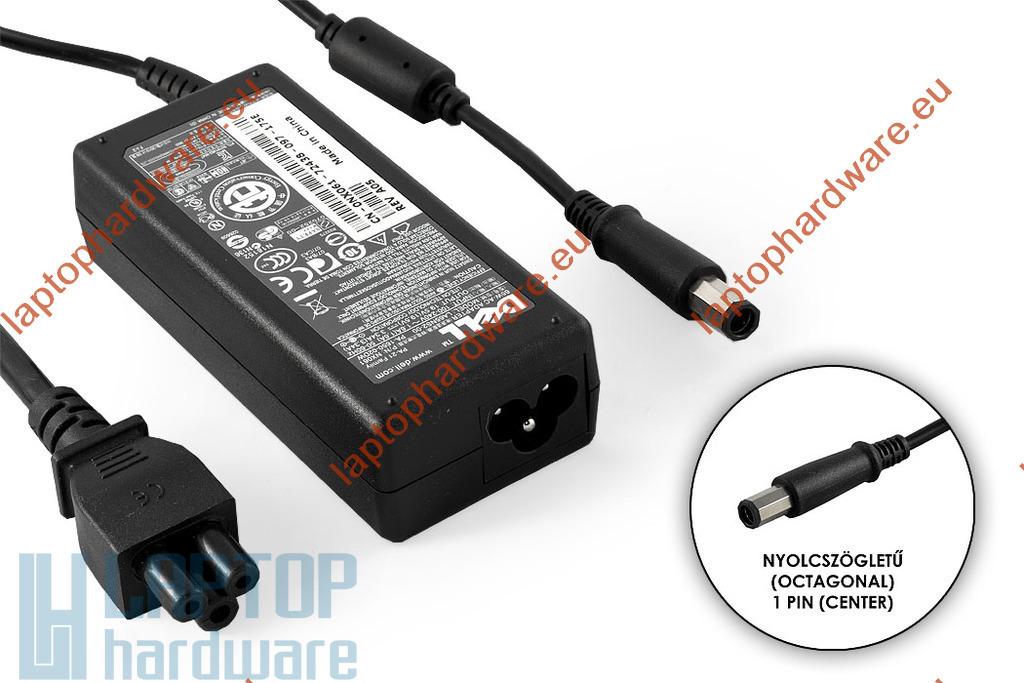Dell PA-21 19.5V 3.34A 65W nyolcszögletű (octagonal) fejű használt laptop töltő (NX061, HR763)