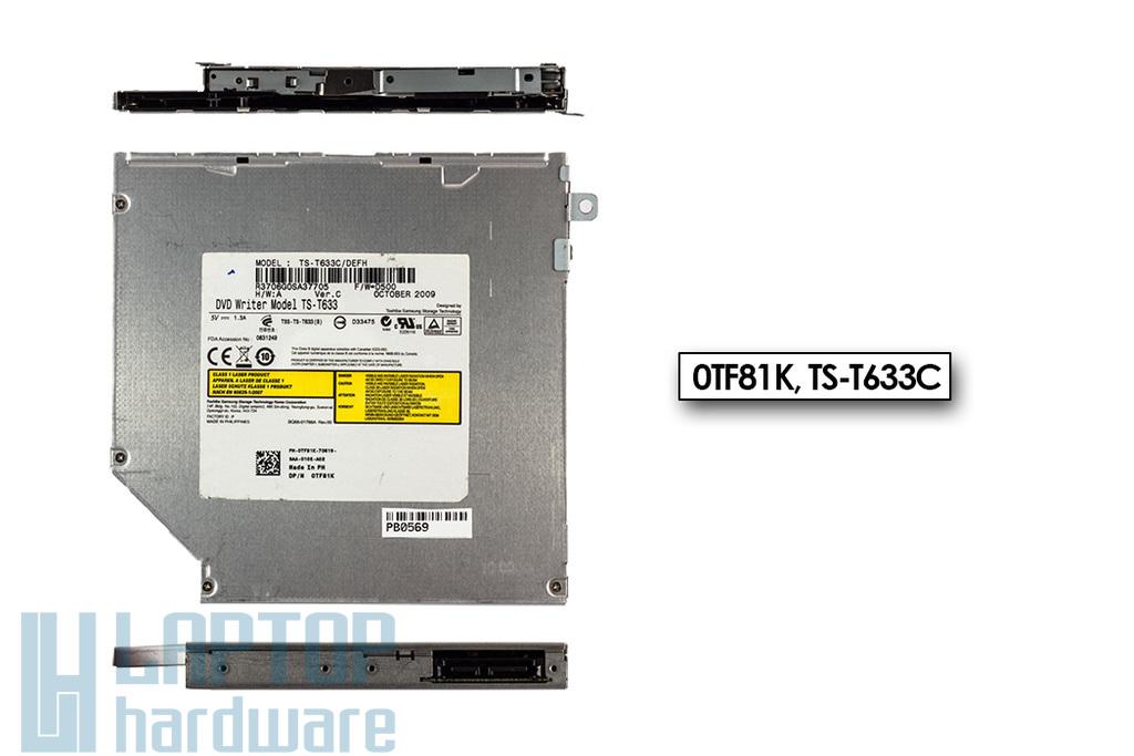 Dell Studio 1457, 1555, 1537, 1557, 1737 használt Slot In SATA DVD író, 0TF81K, TS-T633C