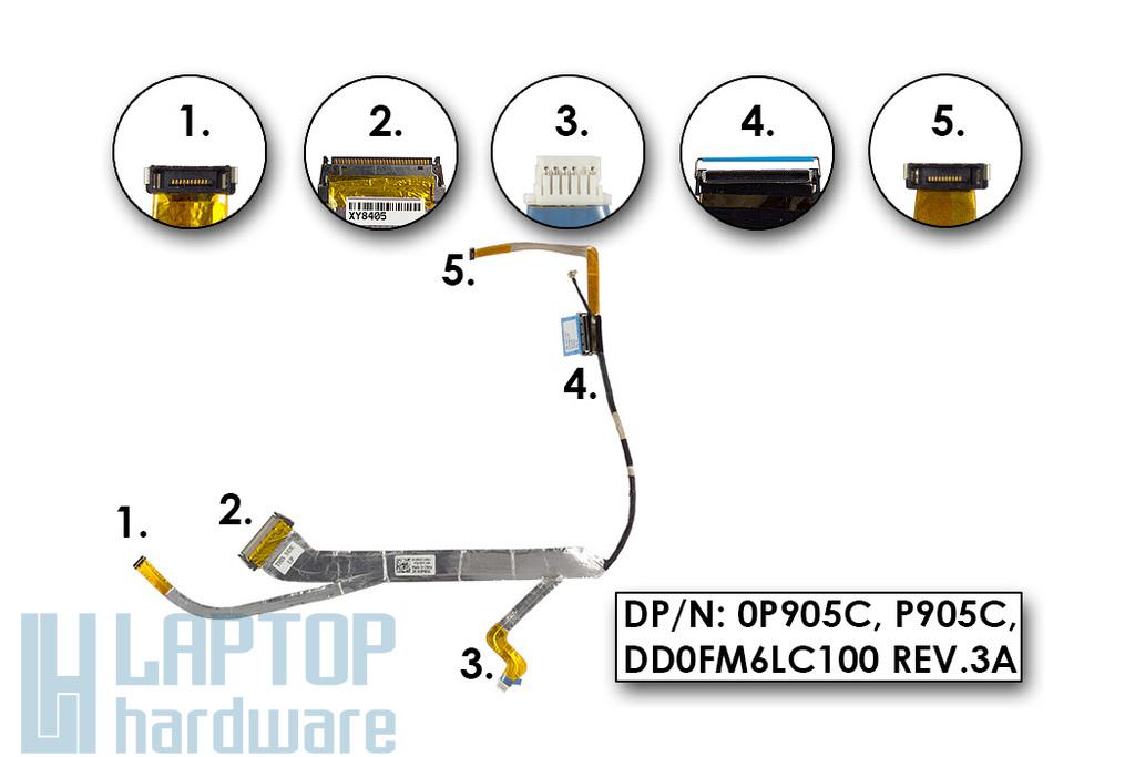 Dell Studio 1535, 1536, 1537 gyári új laptop LCD kijelző kábel (15.4-inch) (0P905C)