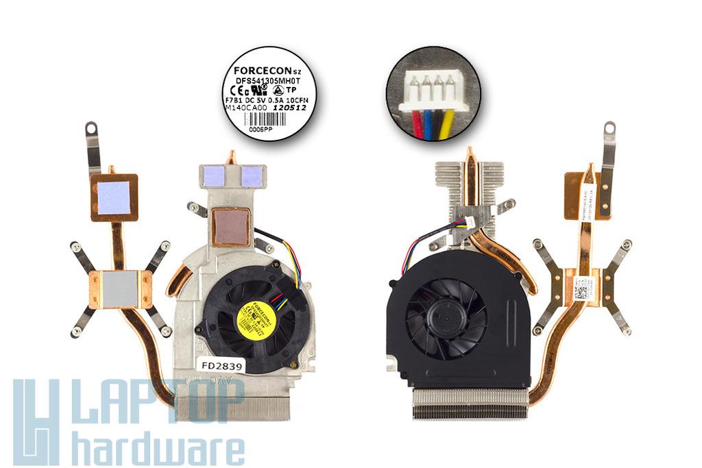 Dell Studio 1555 laptophoz gyári új komplett hűtő ventilátor egység diszkrét VGA-s gépekhez (Y140J)