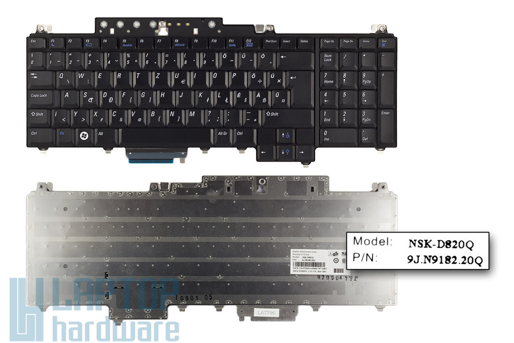 Dell Vostro 1700, Inspiron 1720, 1721 gyári új magyar fekete laptop billentyűzet (0YR954)