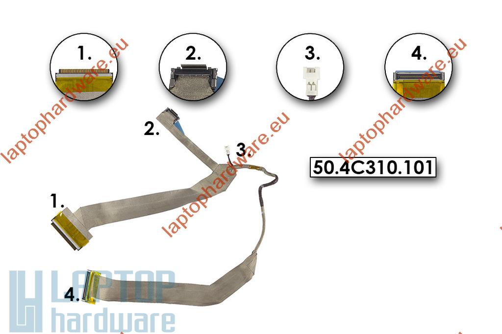 Dell XPS M1330 gyári új laptop LCD kijelző kábel (0RW488, 50.4C310.101)