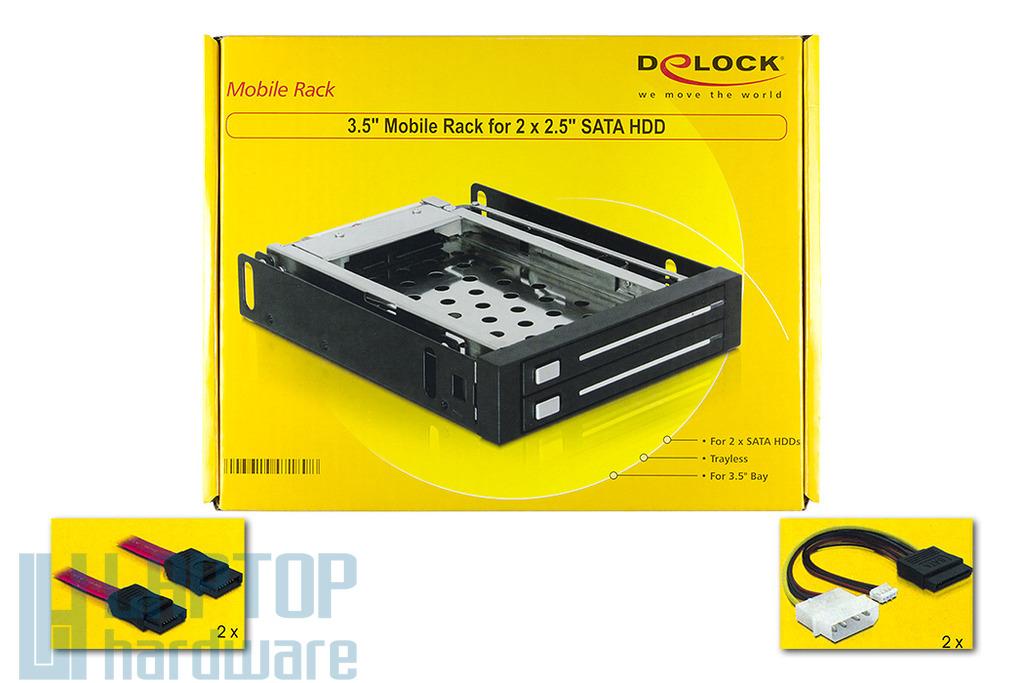"""Delock 3.5"""" hdd mobil rack, 2x 2,5 inch SATA-USB belső winchester keret"""