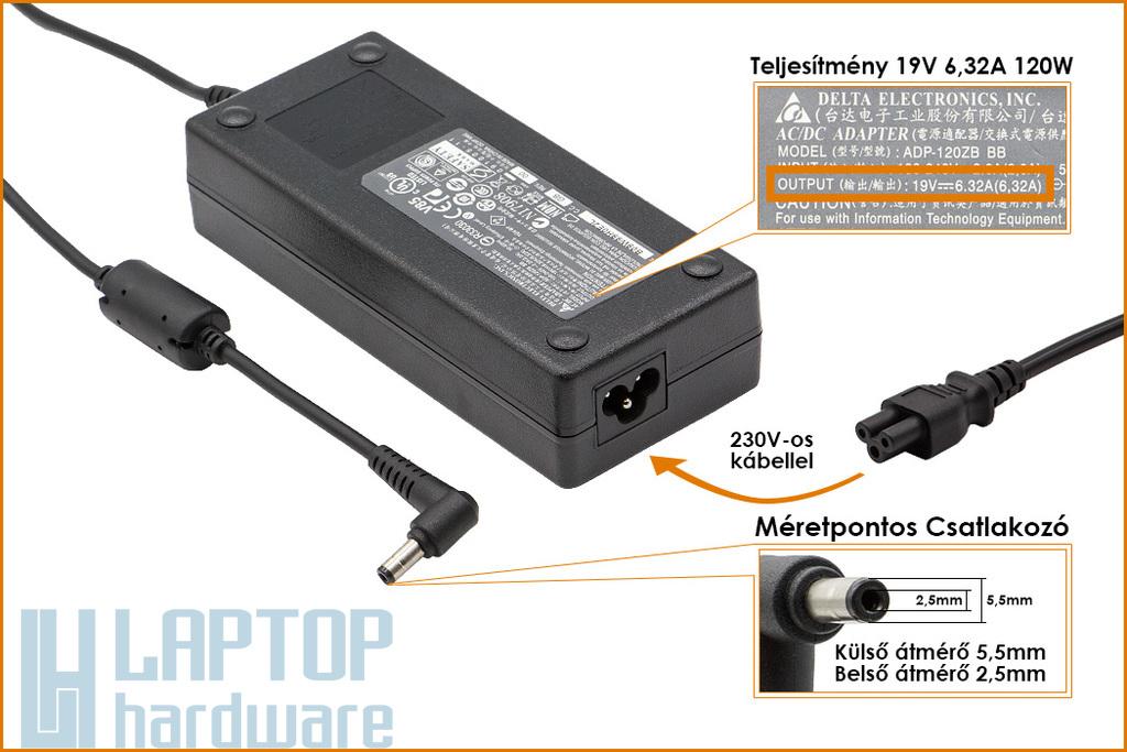 Delta Electronics 19V 6.3A 120W Gyári Új laptop töltő (ADP-120ZB BB, PA-1121-02)