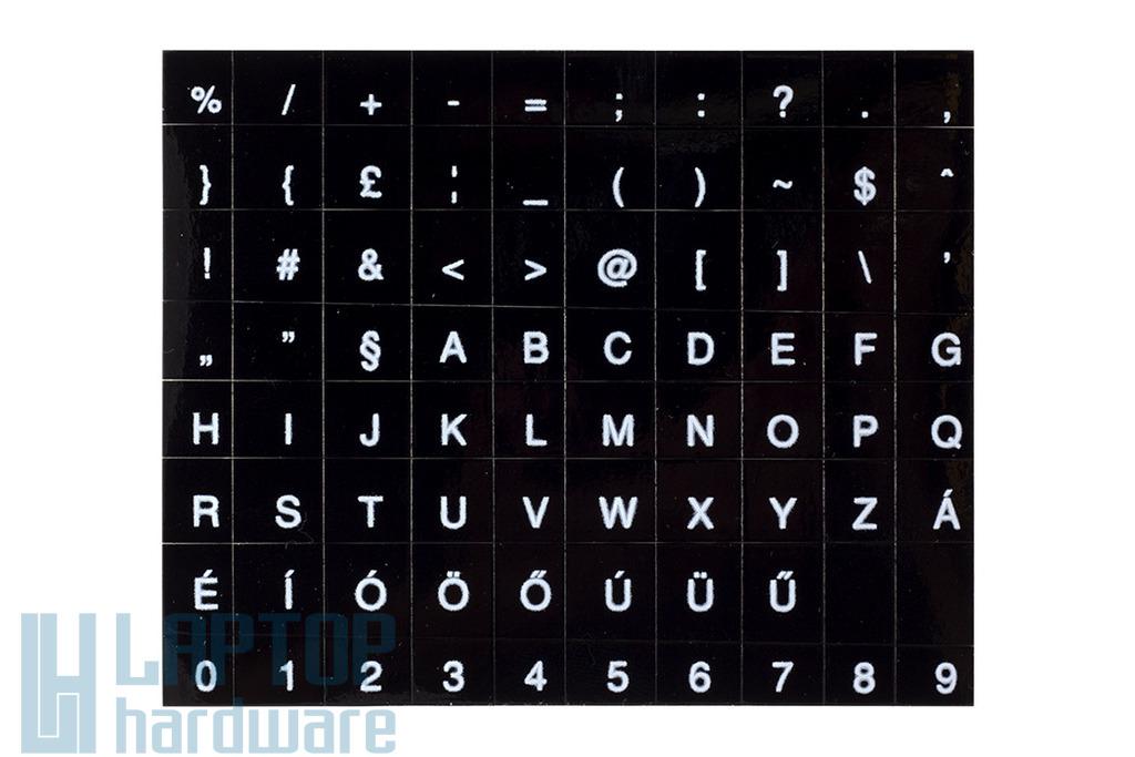 Fekete alapon fehér magyar betűkkel, laptop billentyűzet matrica