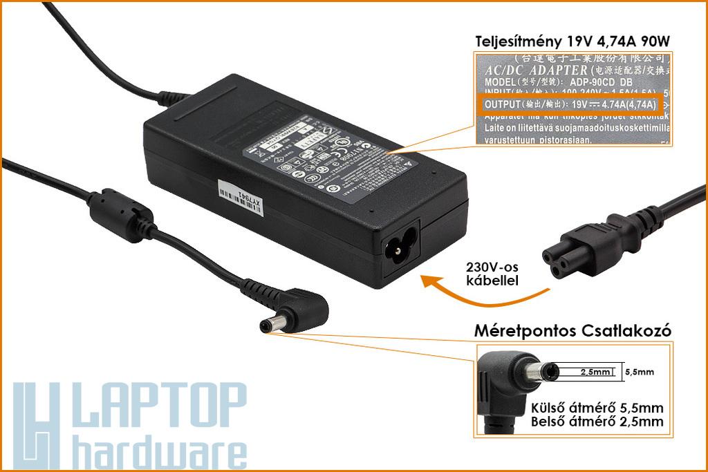 Fujitsu 19V 4.74A 90W gyári új laptop töltő (ADP-90SB BB)