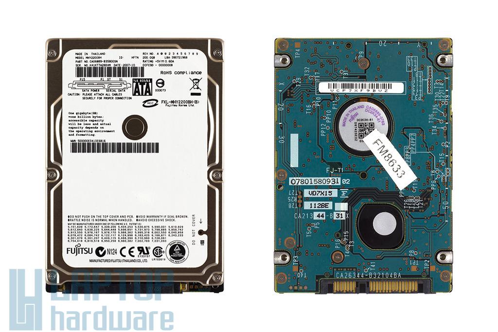 SATA (1.5Gbit/s) 2,5'' 200GB 5400RPM használt laptop winchester, HDD