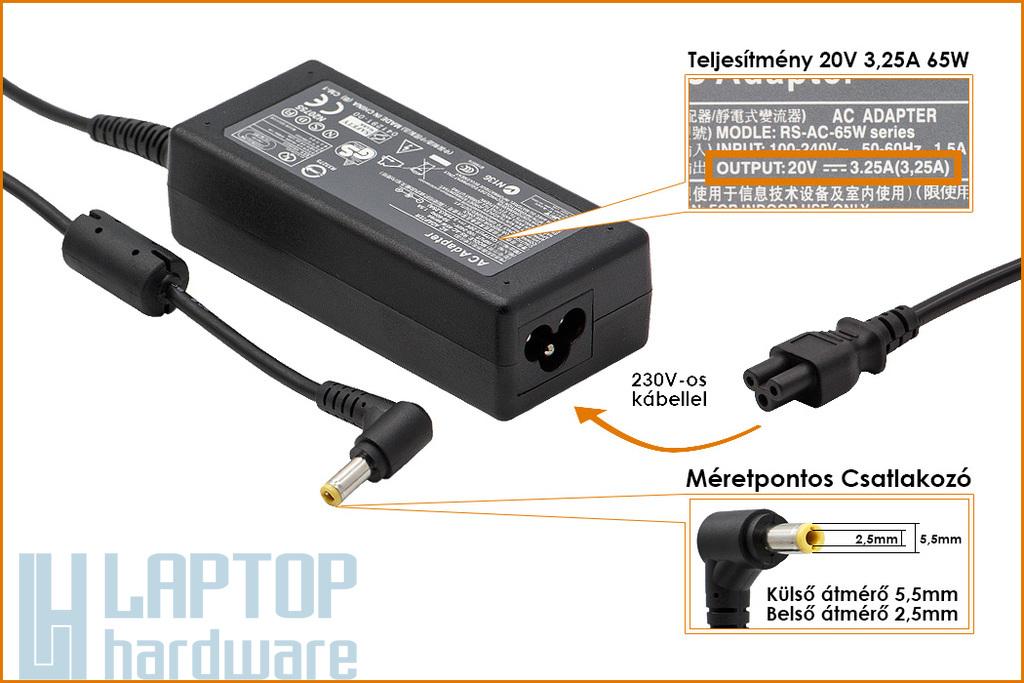 Fujitsu 20V 3.25A 65W helyettesítő új laptop töltő (PA-1650-01)