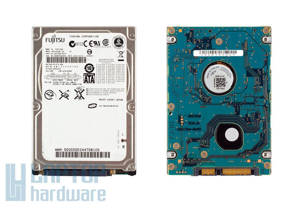 Fujitsu 320GB SATA2 használt laptop winchester (MHZ2320BJ)