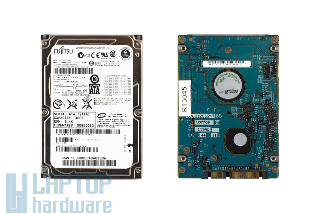 Fujitsu 40GB SATA használt laptop winchester (MHW2040BH)