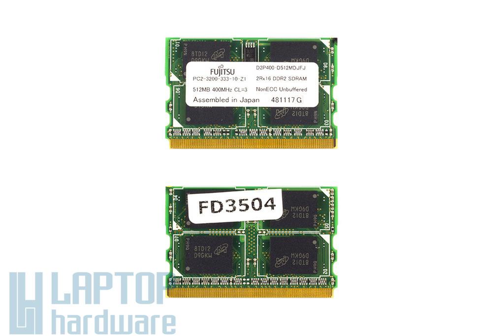 Fujitsu 512MB 400MHz microDIMM DDR2 új laptop memória (PC2-3200-333-10-Z1)