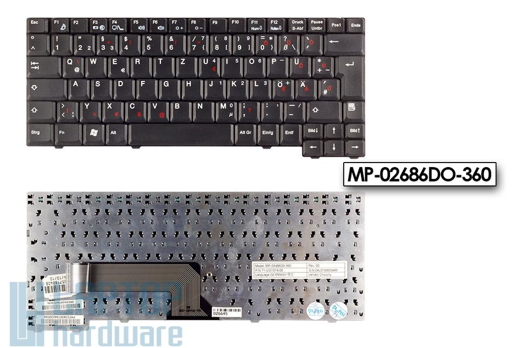 Fujitsu Amilo A7600, D7830, L6820, L6825 használt magyarított notebook billentyűzet (MP-02686DO-360)