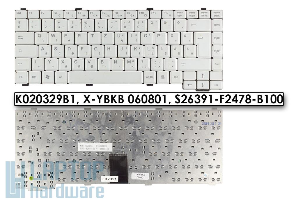 Fujitsu Amilo Pro V7010, V8010 használt magyar fehér laptop billentyűzet, K020329B1