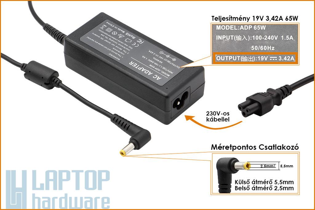 Fujitsu, Delta 19V 3.42A 65W helyettesítő új laptop töltő (PA-1650-01, 0335C206)