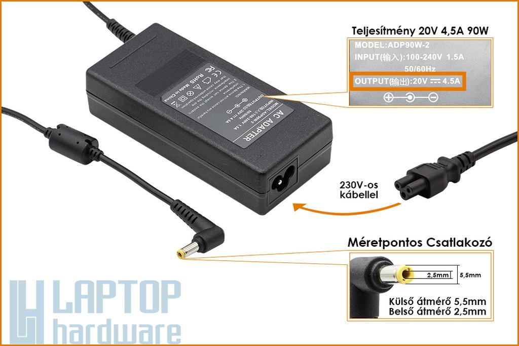 Fujitsu, Delta, LiteOn 20V 4.5A 90W helyettesítő új laptop töltő (PA-1900-05,LSE0202D2090)