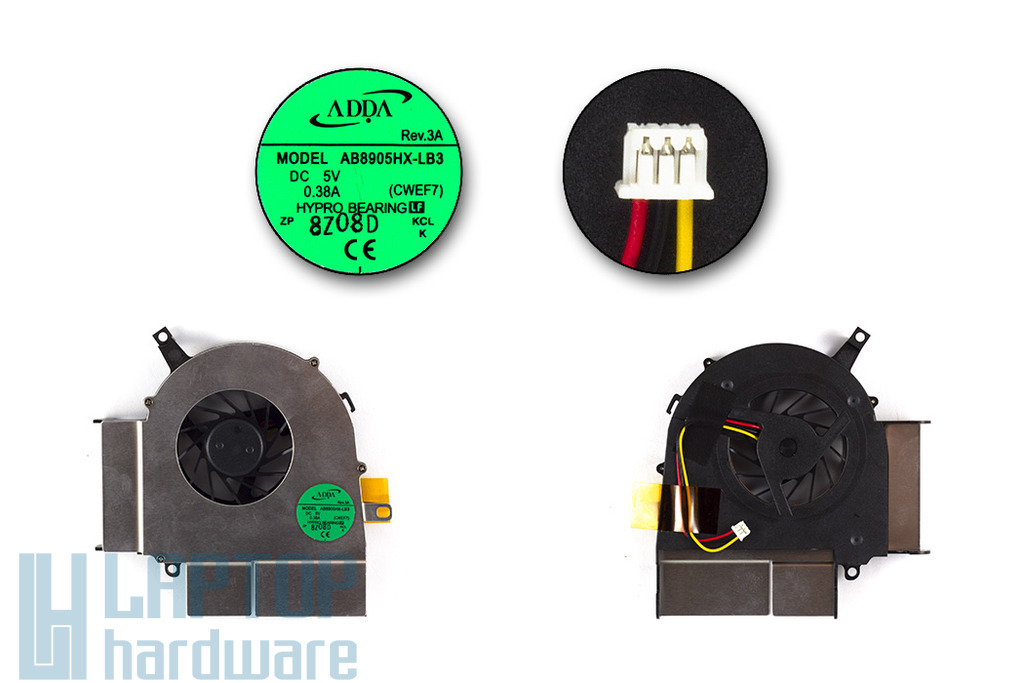 Fujitsu-Siemens Amilo Li3710, Li3910 gyári új laptop hűtő ventilátor (AB8905HX-LB3)