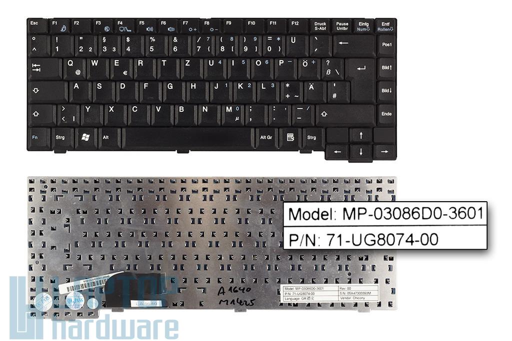 Fujitsu-Siemens Amilo A1640, A1645, M1424, M1425 használt német rövid kábeles (50mm) laptop billentyűzet (MP-03086D0-3601)