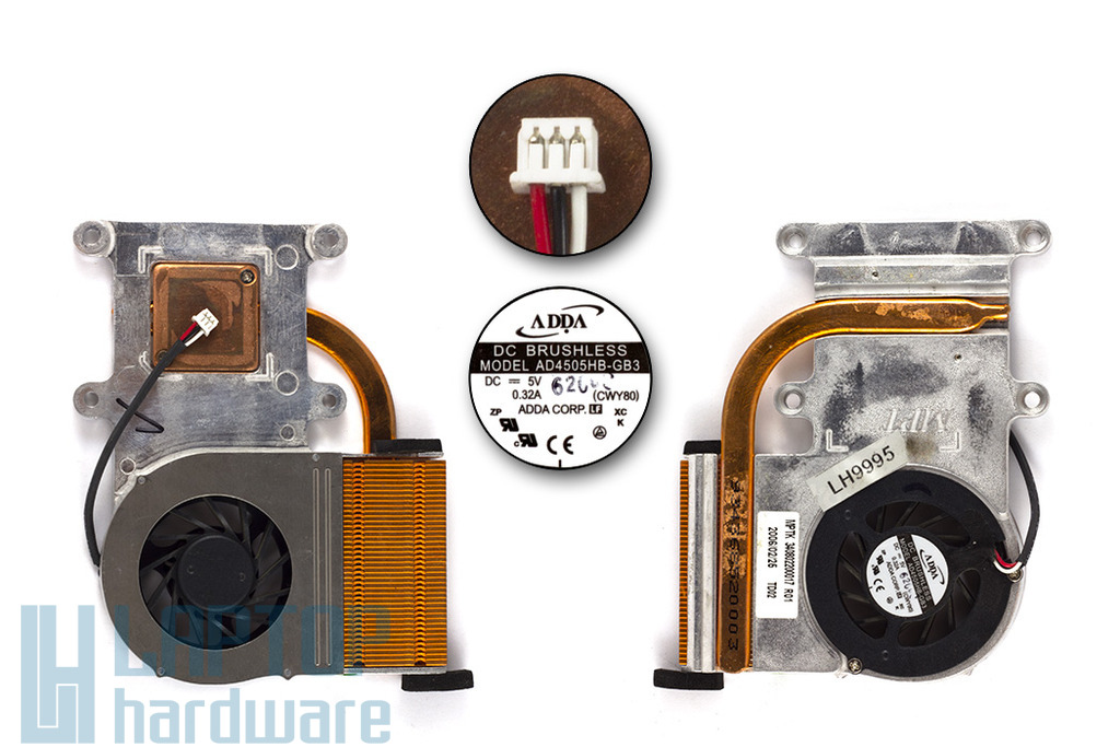 Fujitsu-Siemens Amilo K7610, K7620, L1300, L7310 használt komplett laptop ventilátor egység (AD4505HB-GB3)
