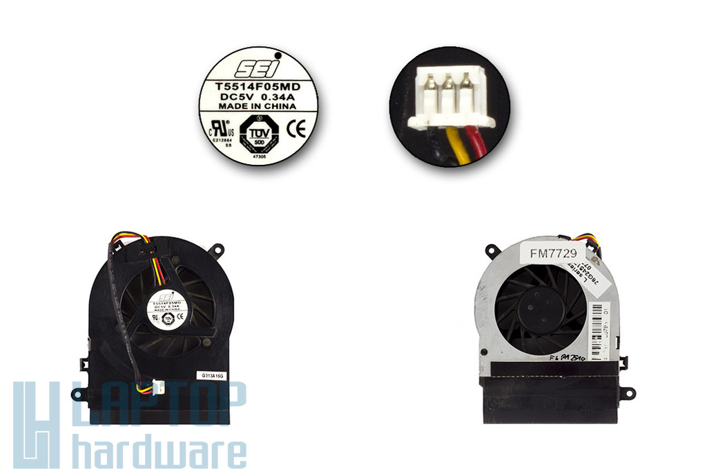 Fujitsu-Siemens Amilo Li1818, Pa1510 használt laptop hűtő ventilátor (T5514F05MD, 28G245120-00)