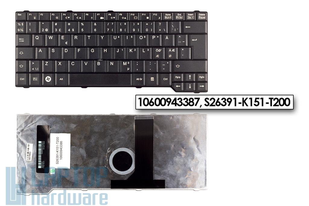 Fujitsu-Siemens Amilo Li3710, Celsius H265 gyári új norvég fekete laptop billentyűzet (10600943387, S26391-K151-T200)