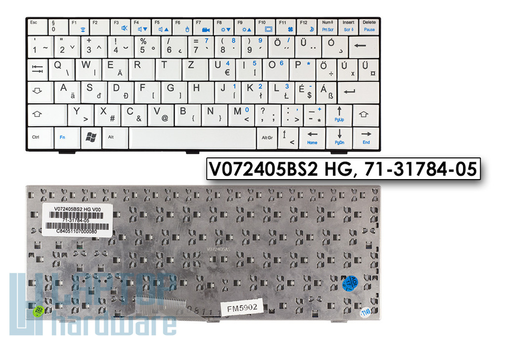 Fujitsu-Siemens Amilo Mini ui3520 gyári új magyar fehér laptop billentyűzet (V072405BS2 HG)