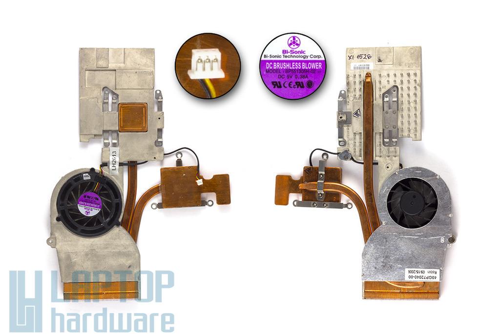 Fujitsu-Siemens Amilo Xi1526, Xi1546, Xi1547, Xi1554 használt komplett laptop hűtő ventilátor egység (40GP72040-00)