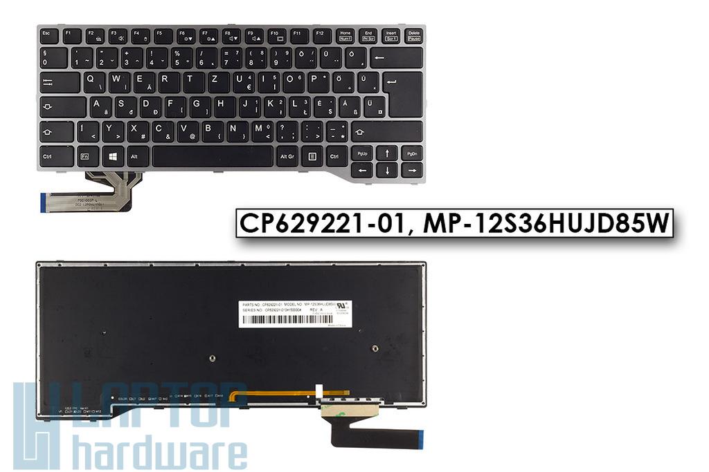 Fujitsu LifeBook E733, E743 gyári új háttér-világításos szürke keretes fekete magyar laptop billentyűzet (CP629221-01)