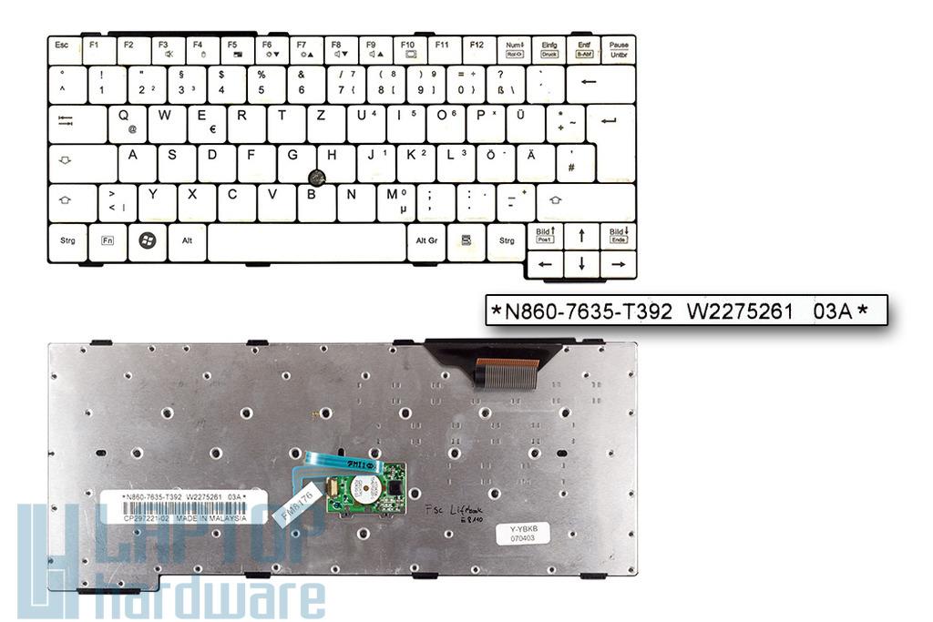 Fujitsu-Siemens LifeBook E8110, S7010, S7020 használt német laptop billentyűzet (N860-7635-T392)