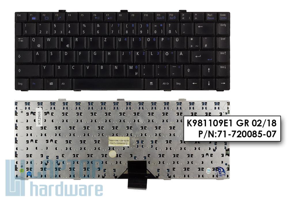 Gericom X5 használt német fekete laptop billentyűzet (K981109E1, 71-720085-07)