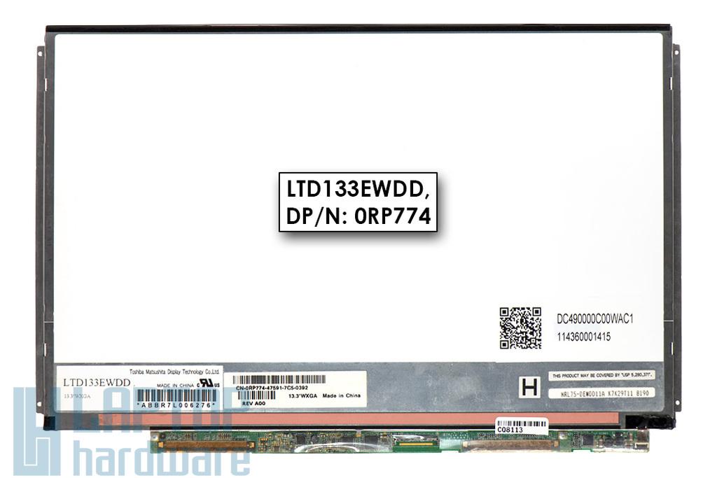 Gyári új fényes 13.3'' WXGA HD (1280x800) LED Slim kijelző Dell XPS M1330 laptophoz (LTD133EWDD, DP/n: 0RP774) (csatlakozó: 40 pin - jobb)