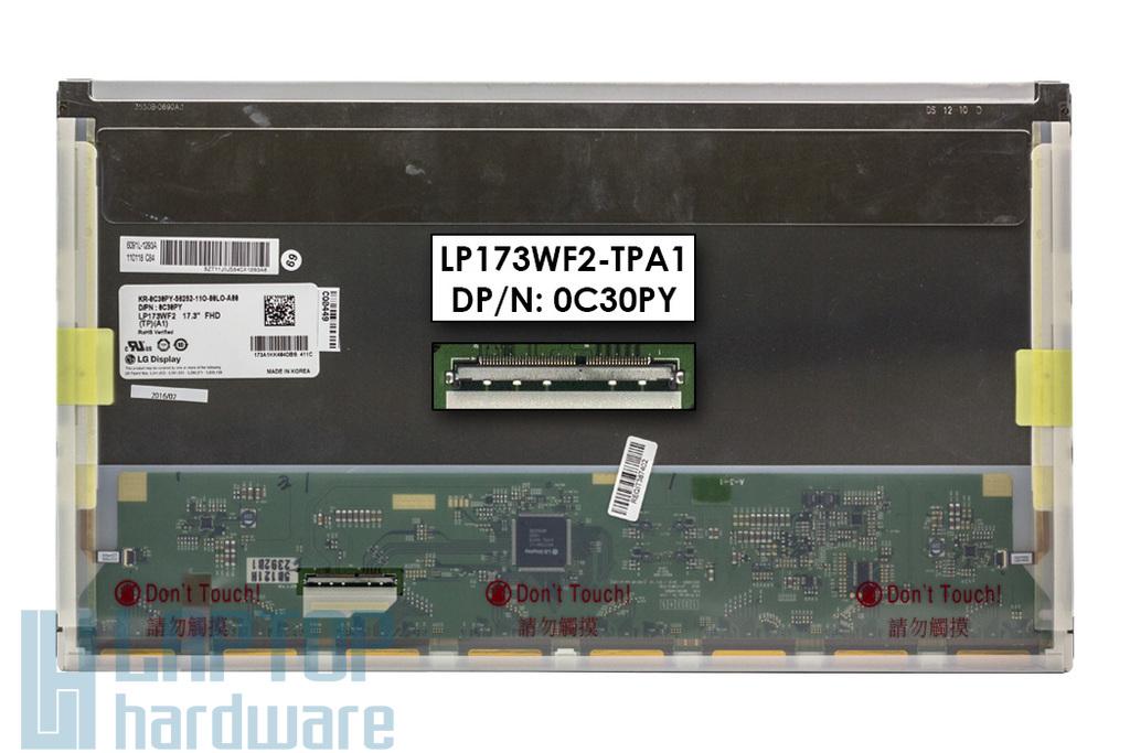 Gyári új fényes 17.3'' Full HD (1920x1080) eDP LED kijelző Dell XPS L702X laptophoz (LP173WF2-TPA1, DP/n: 0C30PY) (csatlakozó: 50 pin - bal)