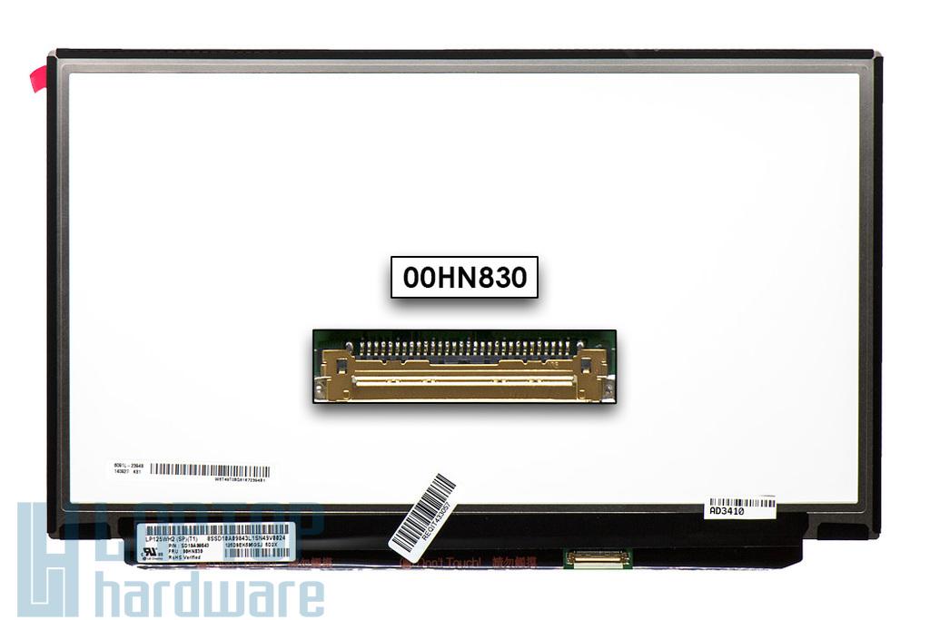 Gyári új matt 12.5'' HD (1366x768) eDP IPS LED laptop Slim kijelző (csatlakozó: 30 pin - jobb)