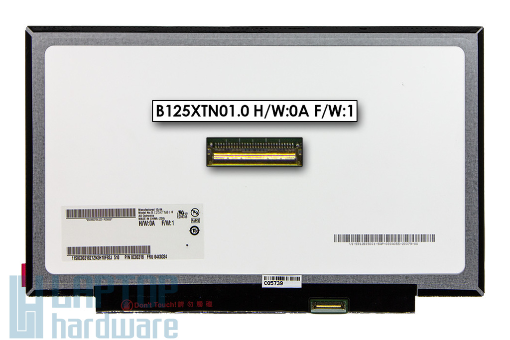 Gyári új matt 12.5'' HD (1366x768) eDP LED Slim kijelző Lenovo ThinkPad X240 laptophoz (B125XTN01.0 H/W:0A F/W:1, 04X0324) (csatlakozó: 30 pin - jobb)