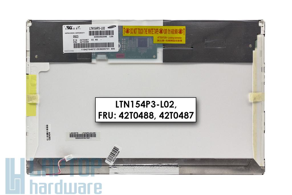 Gyári új matt 15.4'' (1680x1050) CCFL kijelző Lenovo ThinkPad T500 laptophoz (LTN154P3-L02, FRU: 42T0488) (csatlakozó: 30 pin - jobb felül)