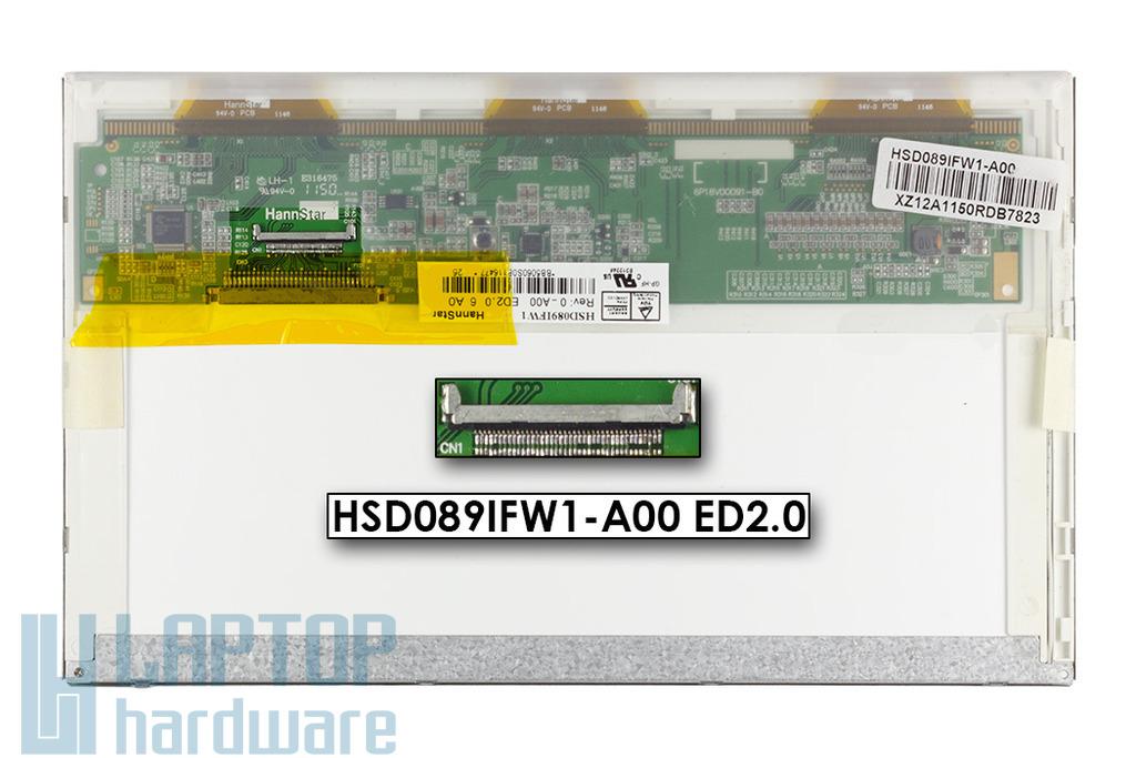 Gyári új matt 8,9'' (1024x600) LED laptop kijelző (csatlakozó: 40 pin - jobb)
