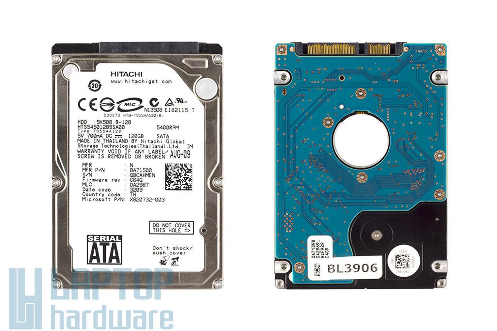 SATA 2,5'' 120GB 5400RPM használt laptop winchester, HDD
