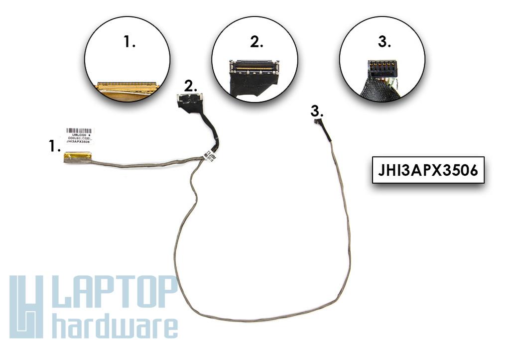 HP 15-F, Pavilion 15-N sorozatú laptophoz használt (nem érintőkijelzős) LCD kábel (U86LC020, DD0U86LC020)