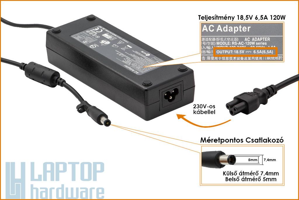 HP 18.5V 6.5A 120W (center pin) helyettesítő új laptop töltő (PA-1121-02HC, PPP016L)