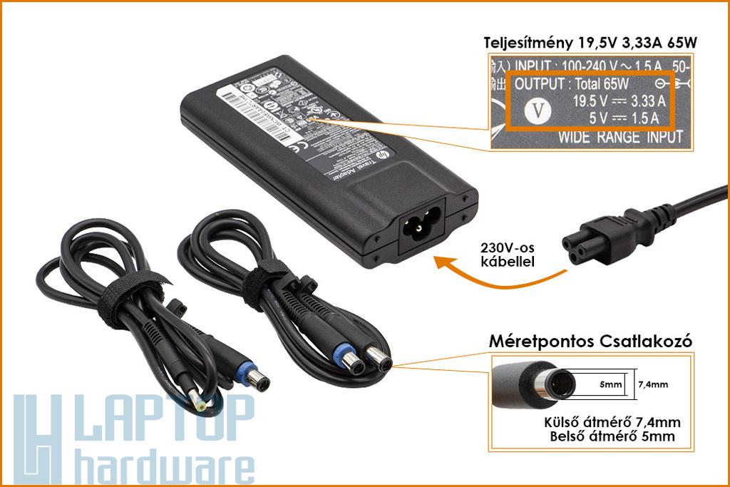 HP 19.5V 3.33A 65W  (5V 1.5A USB) slim gyári új laptop töltő több csatlakozóval (592523-A21, 693716-001)