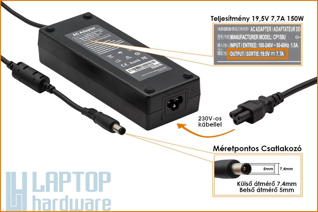 Dell 19,5V 7,7A 150W helyettesítő új laptop töltő (PA-15)